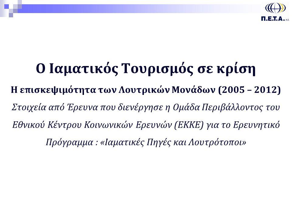 222 Ο Ιαματικός Τουρισμός σε κρίση Η επισκεψιμότητα των Λουτρικών Μονάδων (2005 – 2012) Στοιχεία από Έρευνα που διενέργησε η Ομάδα Περιβάλλοντος του Εθνικού Κέντρου Κοινωνικών Ερευνών (ΕΚΚΕ) για το Ερευνητικό Πρόγραμμα : «Ιαματικές Πηγές και Λουτρότοποι» 1