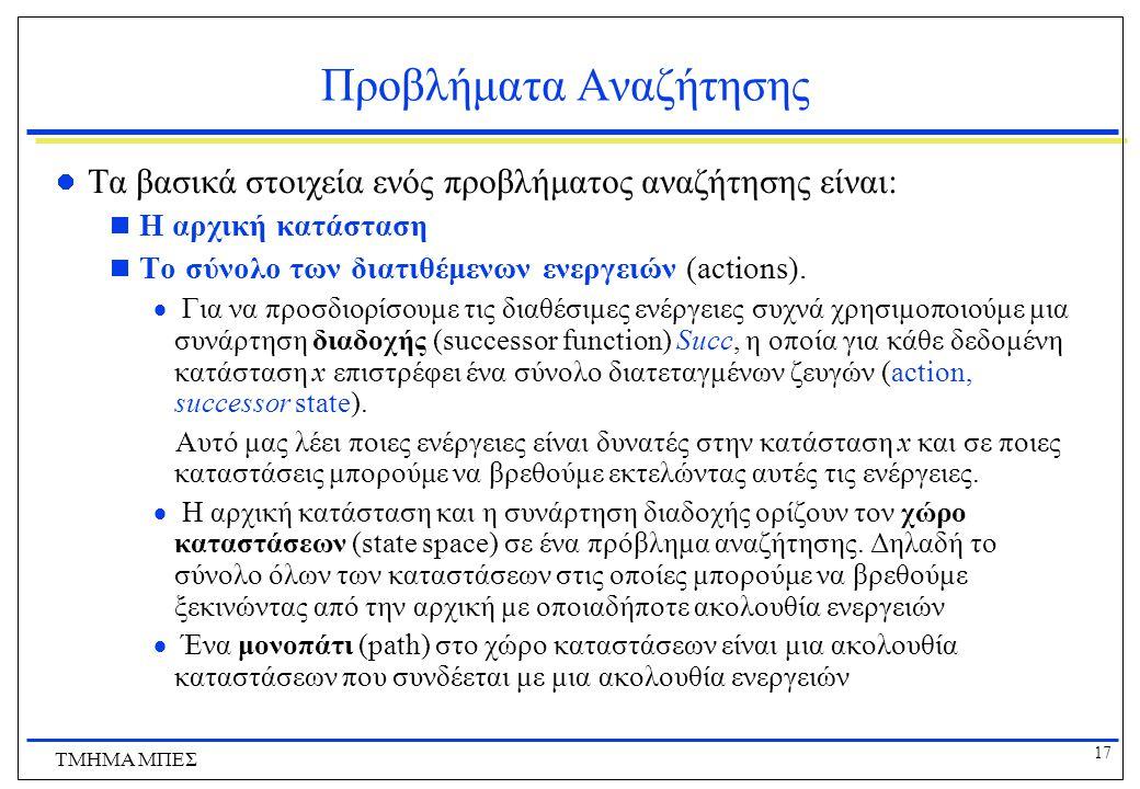 17 ΤΜΗΜΑ ΜΠΕΣ Προβλήματα Αναζήτησης Τα βασικά στοιχεία ενός προβλήματος αναζήτησης είναι:  Η αρχική κατάσταση  Το σύνολο των διατιθέμενων ενεργειών (actions).