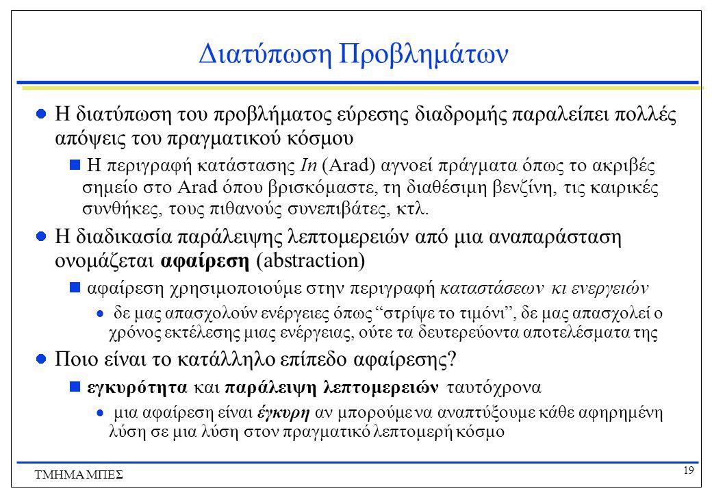 19 ΤΜΗΜΑ ΜΠΕΣ Διατύπωση Προβλημάτων Η διατύπωση του προβλήματος εύρεσης διαδρομής παραλείπει πολλές απόψεις του πραγματικού κόσμου  Η περιγραφή κατάστασης In (Arad) αγνοεί πράγματα όπως το ακριβές σημείο στο Arad όπου βρισκόμαστε, τη διαθέσιμη βενζίνη, τις καιρικές συνθήκες, τους πιθανούς συνεπιβάτες, κτλ.