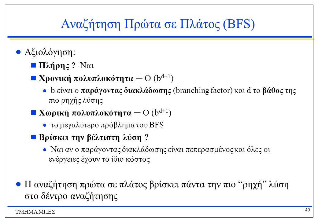 40 ΤΜΗΜΑ ΜΠΕΣ Αναζήτηση Πρώτα σε Πλάτος (BFS) Αξιολόγηση:  Πλήρης .