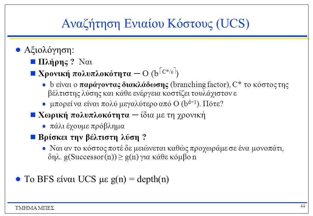 44 ΤΜΗΜΑ ΜΠΕΣ Αναζήτηση Ενιαίου Κόστους (UCS) Αξιολόγηση:  Πλήρης .