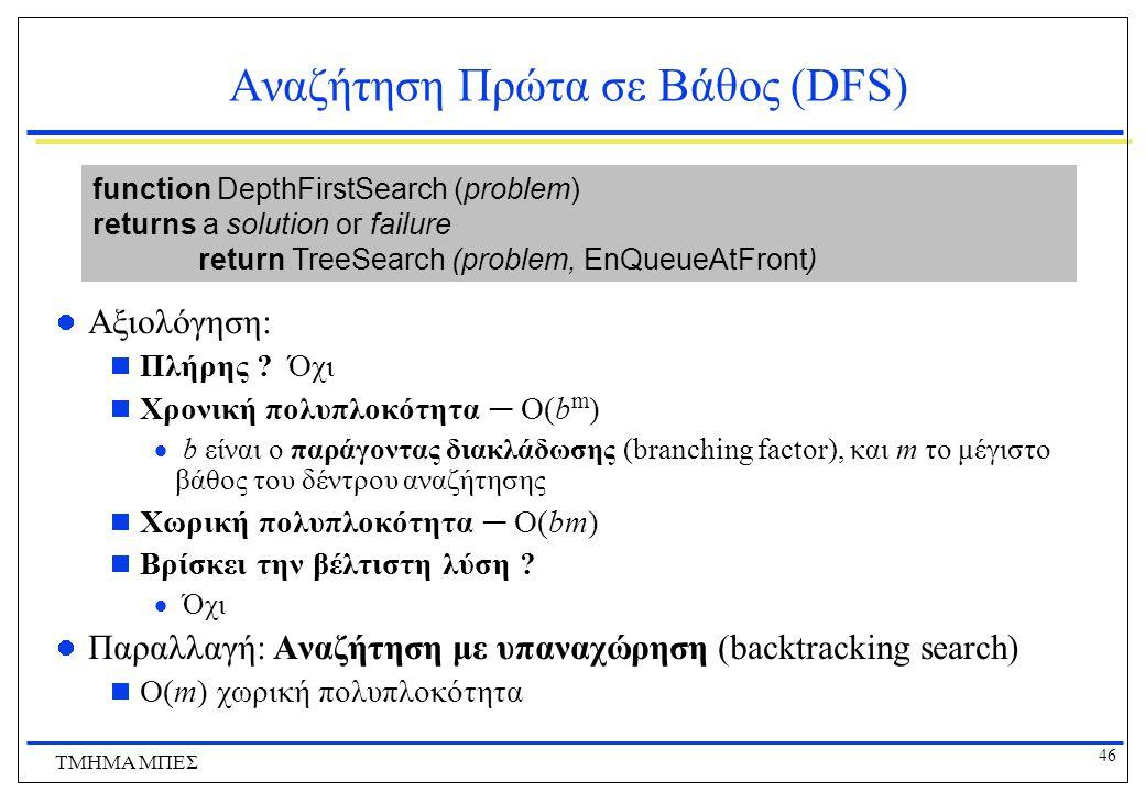 46 ΤΜΗΜΑ ΜΠΕΣ Αναζήτηση Πρώτα σε Βάθος (DFS) Αξιολόγηση:  Πλήρης .
