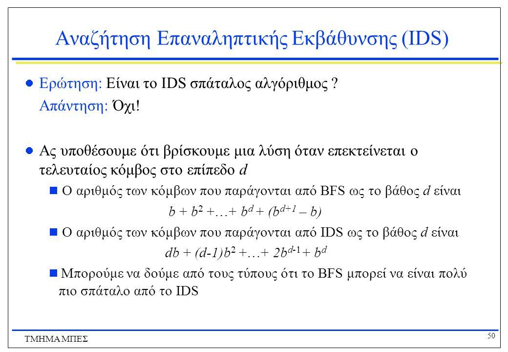 50 ΤΜΗΜΑ ΜΠΕΣ Αναζήτηση Επαναληπτικής Εκβάθυνσης (IDS) Ερώτηση: Είναι το IDS σπάταλος αλγόριθμος .
