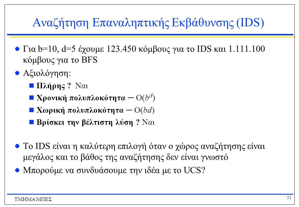 51 ΤΜΗΜΑ ΜΠΕΣ Αναζήτηση Επαναληπτικής Εκβάθυνσης (IDS) Για b=10, d=5 έχουμε 123.450 κόμβους για το IDS και 1.111.100 κόμβους για το BFS Αξιολόγηση:  Πλήρης .
