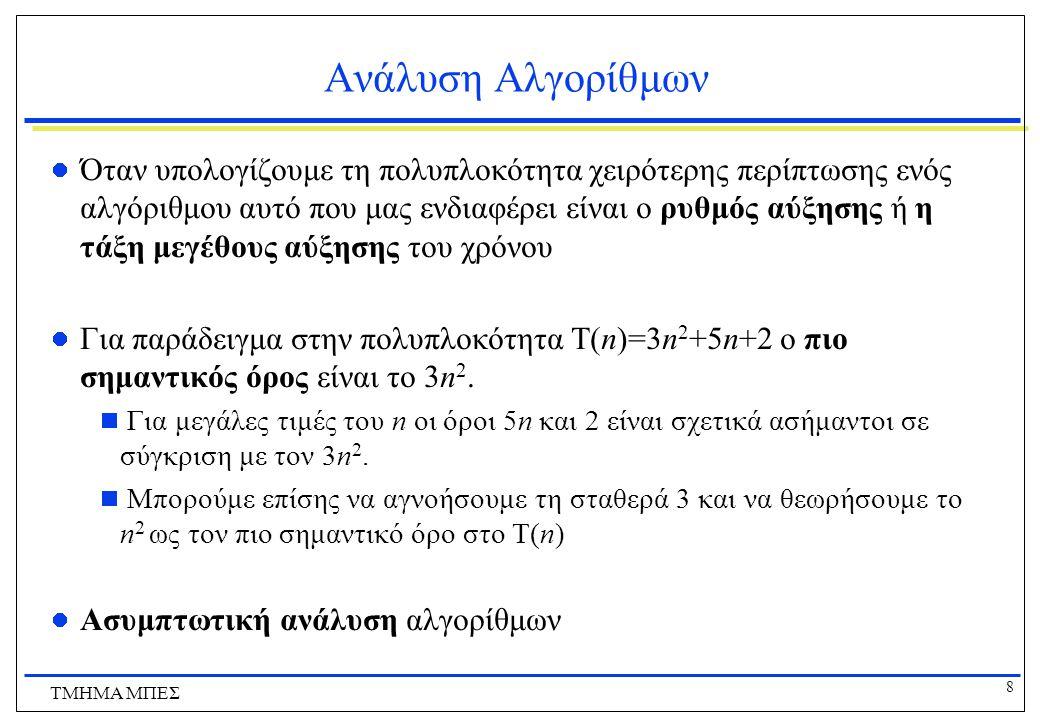 29 ΤΜΗΜΑ ΜΠΕΣ Αναζήτηση Λύσεων Α) αρχική κατάστασηArad B) επεκτείνοντας το Arad Arad ZerindTimisoaraSibiu Γ) επεκτείνοντας το Sibiu Arad ZerindTimisoaraSibiu Rimnicu VilceaOradeaFagarasArad