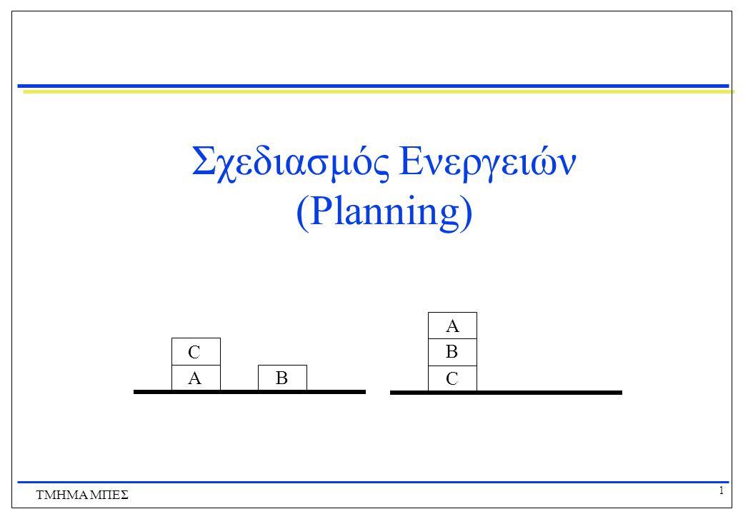12 ΤΜΗΜΑ ΜΠΕΣ Αναπαράσταση Προβλημάτων Σχεδιασμού Μπορούμε να χρησιμοποιήσουμε ΛΠΤ για αναπαράσταση προβλημάτων σχεδιασμού  Συγκεκριμένα μια επέκταση της ΛΠΤ για το χειρισμό μεταβολών στον κόσμο που ονομάζεται λογισμός καταστάσεων (situation calculus)  Στο λογισμό καταστάσεων ο κόσμος αποτελείται από μια σειρά στιγμιότυπων  Για κάθε συσχέτιση που μπορεί να αλλάξει στο χρόνο, προσδιορίζουμε με ένα πρόσθετο όρισμα σε ποιο στιγμιότυπο αναφερόμαστε  π.χ.