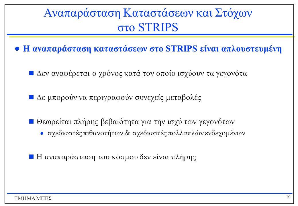 16 ΤΜΗΜΑ ΜΠΕΣ Αναπαράσταση Καταστάσεων και Στόχων στο STRIPS Η αναπαράσταση καταστάσεων στο STRIPS είναι απλουστευμένη  Δεν αναφέρεται ο χρόνος κατά
