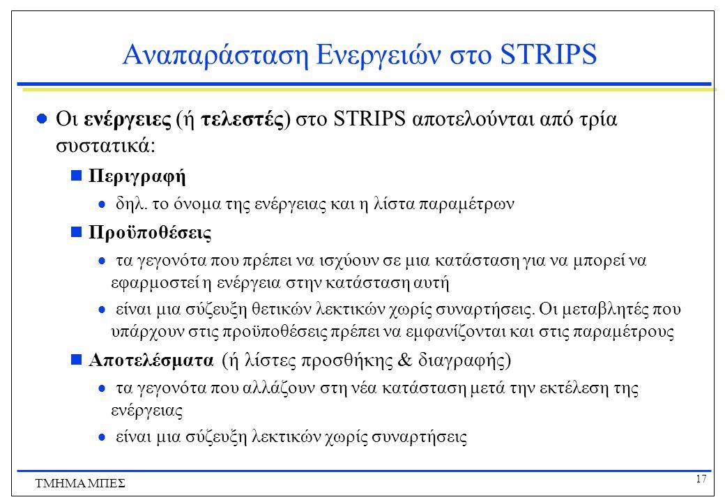 17 ΤΜΗΜΑ ΜΠΕΣ Αναπαράσταση Ενεργειών στο STRIPS Οι ενέργειες (ή τελεστές) στο STRIPS αποτελούνται από τρία συστατικά:  Περιγραφή  δηλ. το όνομα της