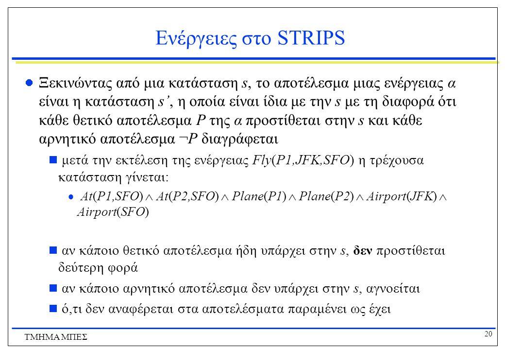 20 ΤΜΗΜΑ ΜΠΕΣ Ενέργειες στο STRIPS Ξεκινώντας από μια κατάσταση s, το αποτέλεσμα μιας ενέργειας α είναι η κατάσταση s', η οποία είναι ίδια με την s με