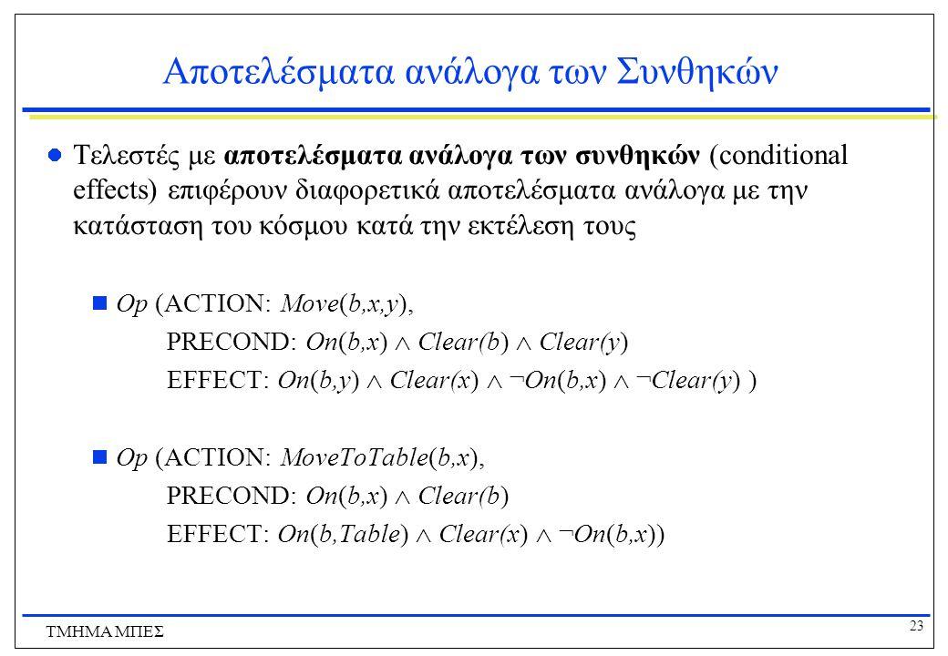 23 ΤΜΗΜΑ ΜΠΕΣ Αποτελέσματα ανάλογα των Συνθηκών Τελεστές με αποτελέσματα ανάλογα των συνθηκών (conditional effects) επιφέρουν διαφορετικά αποτελέσματα