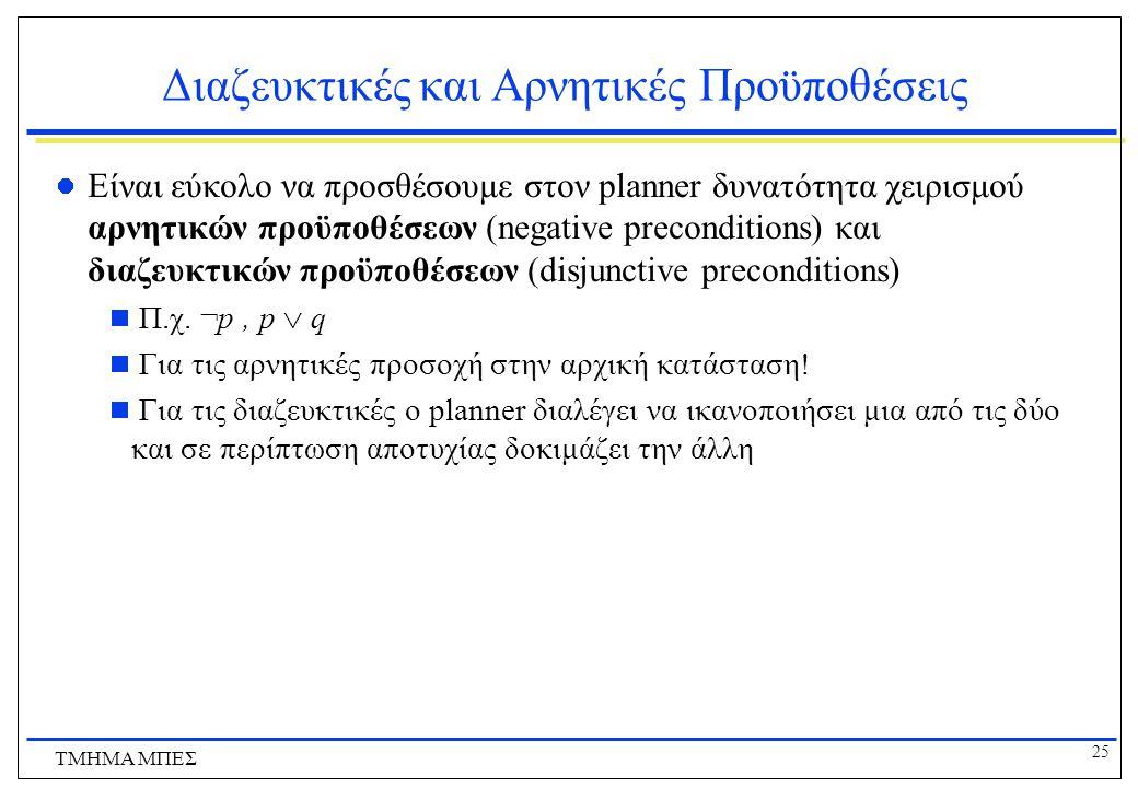 25 ΤΜΗΜΑ ΜΠΕΣ Διαζευκτικές και Αρνητικές Προϋποθέσεις Είναι εύκολο να προσθέσουμε στον planner δυνατότητα χειρισμού αρνητικών προϋποθέσεων (negative p