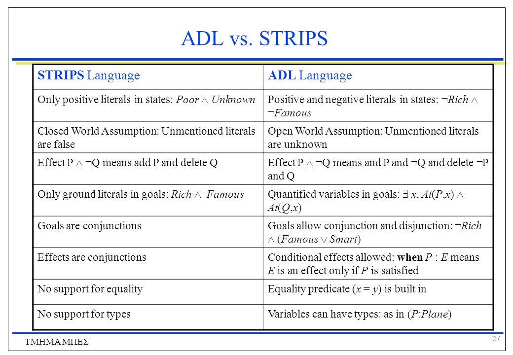 27 ΤΜΗΜΑ ΜΠΕΣ ADL vs. STRIPS STRIPS LanguageADL Language Only positive literals in states: Poor  UnknownPositive and negative literals in states: ¬Ri