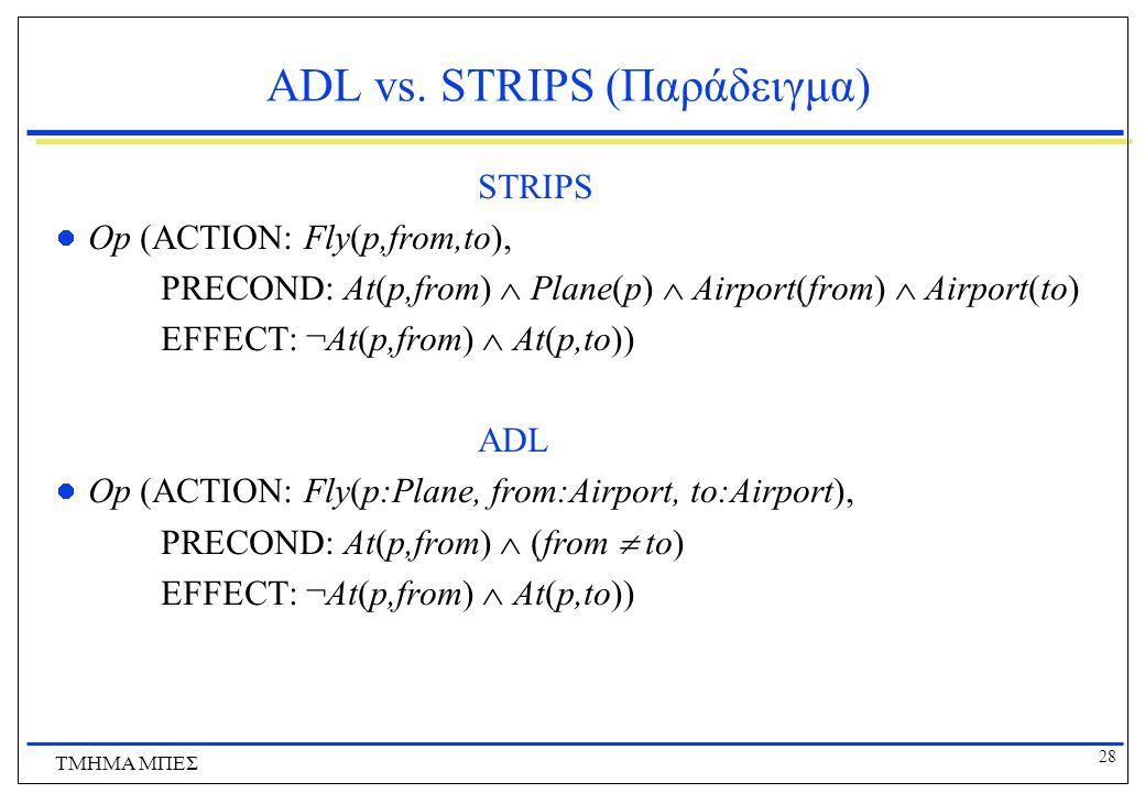 28 ΤΜΗΜΑ ΜΠΕΣ ADL vs. STRIPS (Παράδειγμα) STRIPS Op (ACTION: Fly(p,from,to), PRECOND: At(p,from)  Plane(p)  Airport(from)  Airport(to) EFFECT: ¬At(