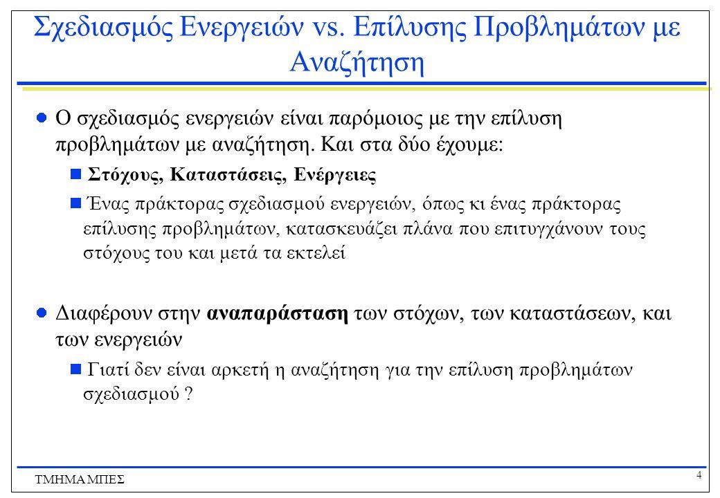 5 ΤΜΗΜΑ ΜΠΕΣ Σχεδιασμός Ενεργειών vs.