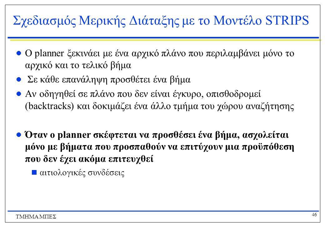 46 ΤΜΗΜΑ ΜΠΕΣ Σχεδιασμός Μερικής Διάταξης με το Μοντέλο STRIPS O planner ξεκινάει με ένα αρχικό πλάνο που περιλαμβάνει μόνο το αρχικό και το τελικό βή
