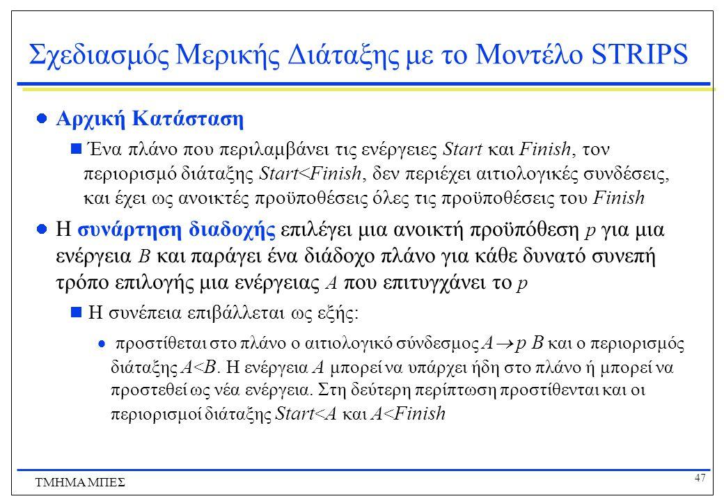 47 ΤΜΗΜΑ ΜΠΕΣ Σχεδιασμός Μερικής Διάταξης με το Μοντέλο STRIPS Αρχική Κατάσταση  Ένα πλάνο που περιλαμβάνει τις ενέργειες Start και Finish, τον περιο