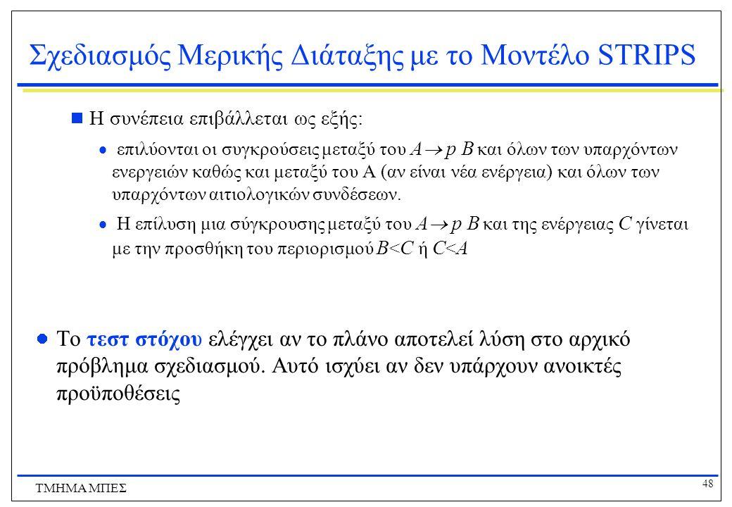 48 ΤΜΗΜΑ ΜΠΕΣ Σχεδιασμός Μερικής Διάταξης με το Μοντέλο STRIPS  Η συνέπεια επιβάλλεται ως εξής:  επιλύονται οι συγκρούσεις μεταξύ του Α  p Β και όλ