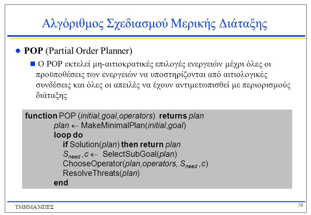 58 ΤΜΗΜΑ ΜΠΕΣ Αλγόριθμος Σχεδιασμού Μερικής Διάταξης POP (Partial Order Planner)  O POP εκτελεί μη-αιτιοκρατικές επιλογές ενεργειών μέχρι όλες οι προ