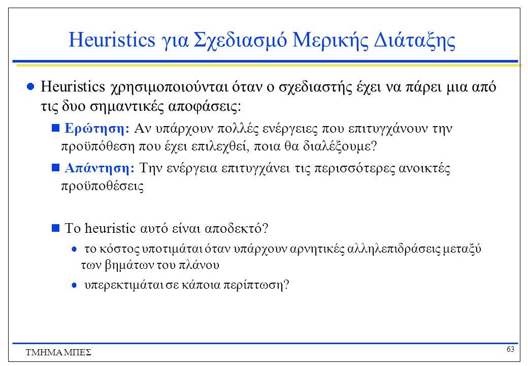 63 ΤΜΗΜΑ ΜΠΕΣ Heuristics για Σχεδιασμό Μερικής Διάταξης Heuristics χρησιμοποιούνται όταν ο σχεδιαστής έχει να πάρει μια από τις δυο σημαντικές αποφάσε
