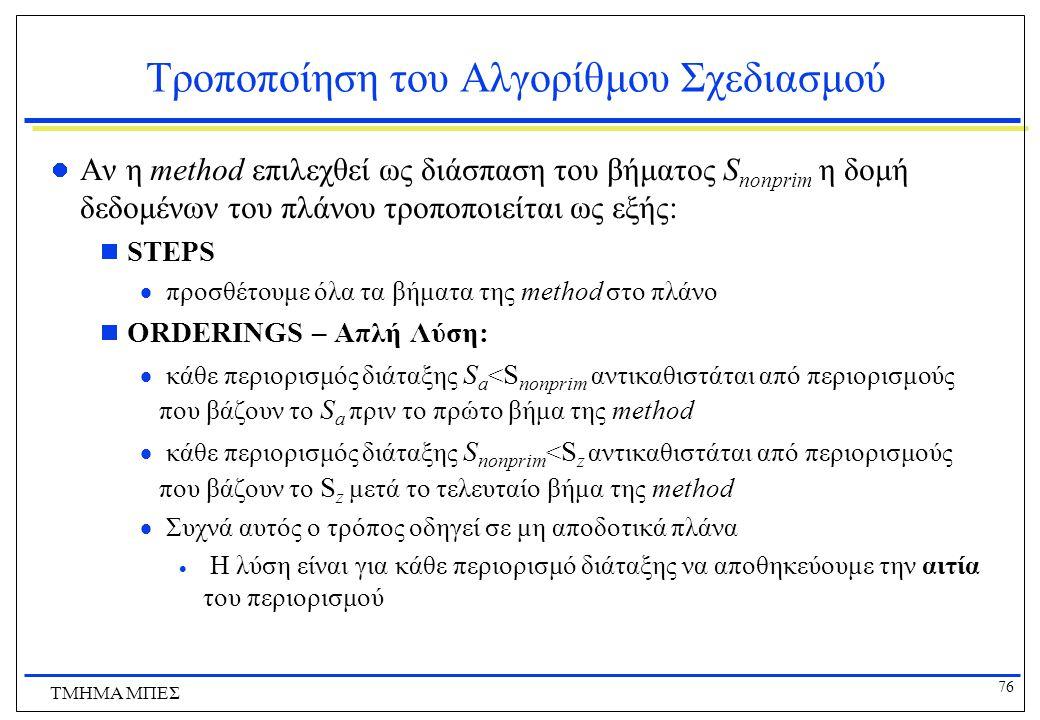 76 ΤΜΗΜΑ ΜΠΕΣ Τροποποίηση του Αλγορίθμου Σχεδιασμού Αν η method επιλεχθεί ως διάσπαση του βήματος S nonprim η δομή δεδομένων του πλάνου τροποποιείται