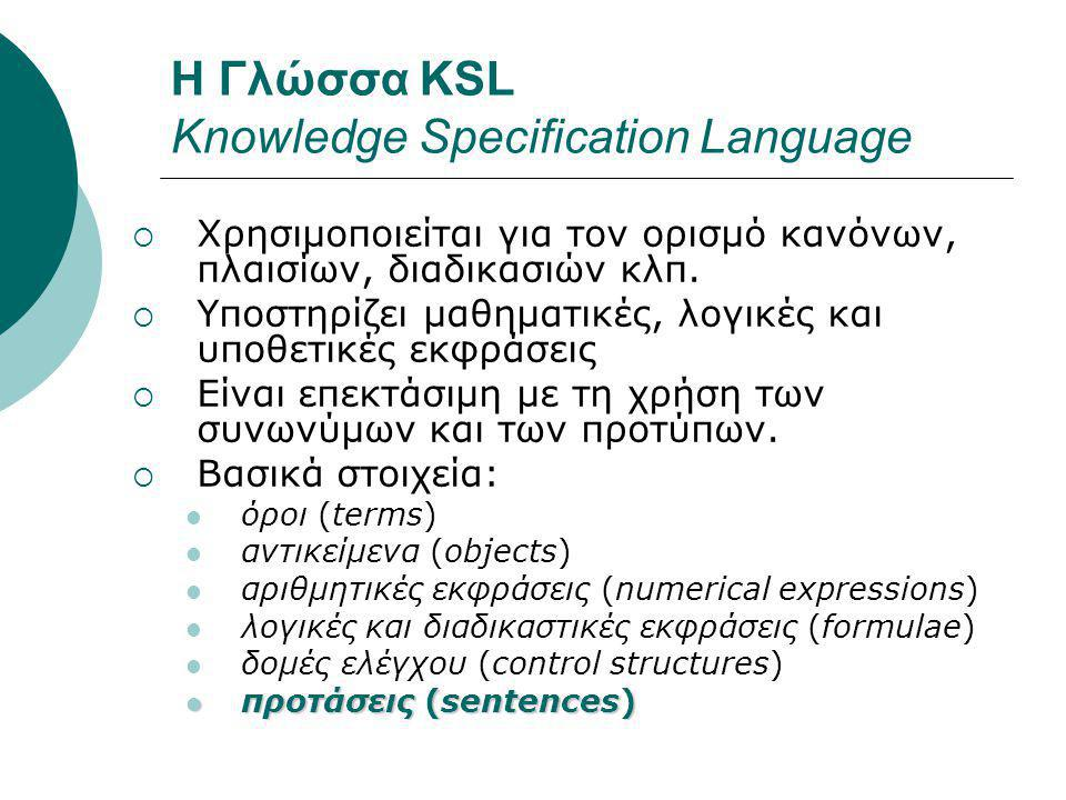 Η Γλώσσα KSL Knowledge Specification Language  Χρησιμοποιείται για τον ορισμό κανόνων, πλαισίων, διαδικασιών κλπ.  Υποστηρίζει μαθηματικές, λογικές