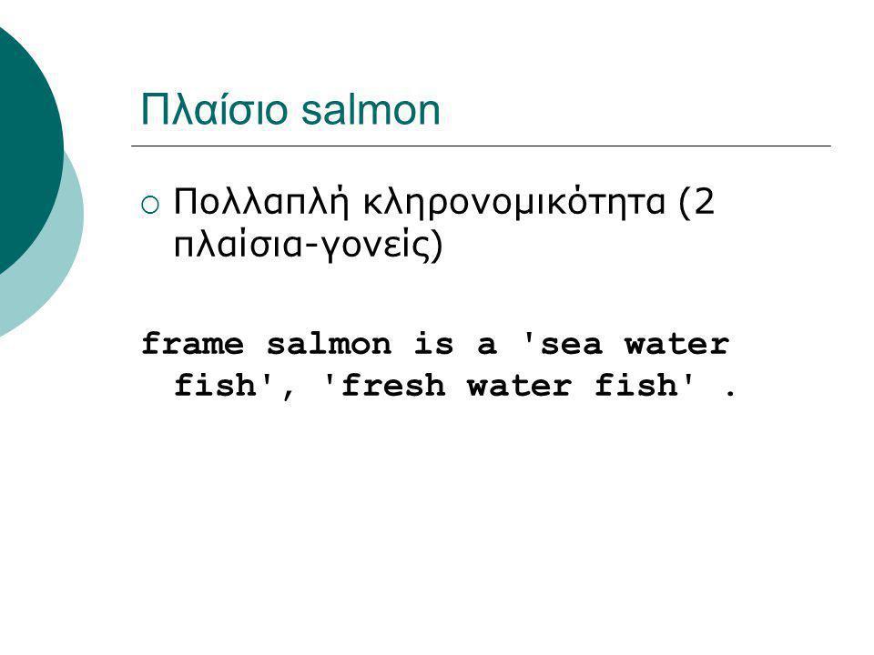Πλαίσιο salmon  Πολλαπλή κληρονομικότητα (2 πλαίσια-γονείς) frame salmon is a 'sea water fish', 'fresh water fish'.