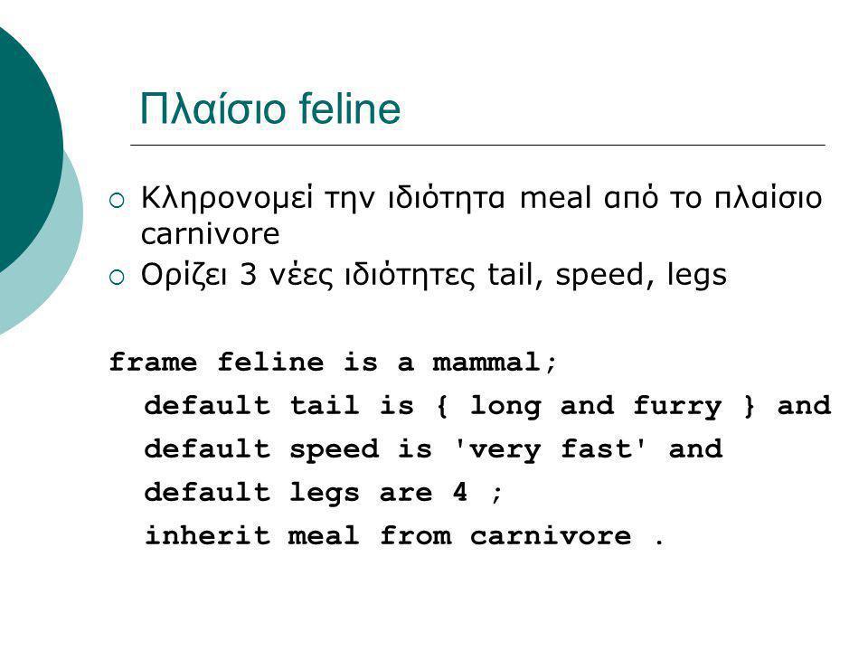 Πλαίσιο feline  Κληρονομεί την ιδιότητα meal από το πλαίσιο carnivore  Ορίζει 3 νέες ιδιότητες tail, speed, legs frame feline is a mammal; default tail is { long and furry } and default speed is very fast and default legs are 4 ; inherit meal from carnivore.