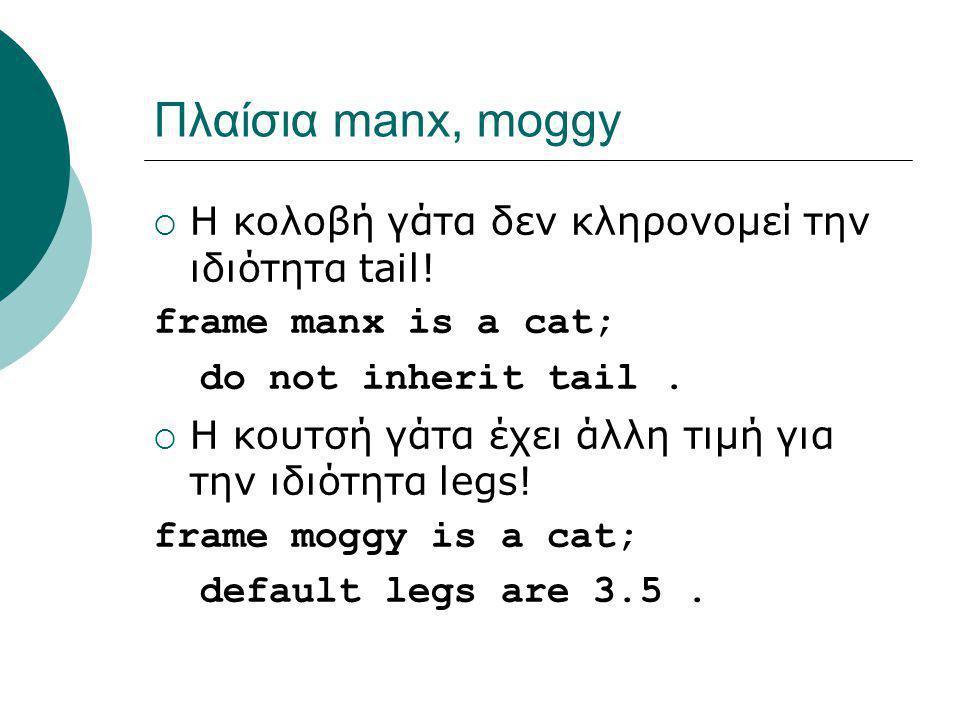 Πλαίσια manx, moggy  Η κολοβή γάτα δεν κληρονομεί την ιδιότητα tail! frame manx is a cat; do not inherit tail.  Η κουτσή γάτα έχει άλλη τιμή για την