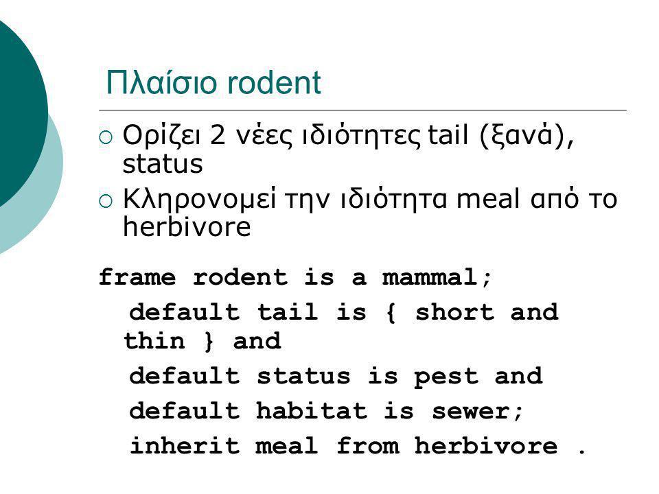 Πλαίσιο rodent  Ορίζει 2 νέες ιδιότητες tail (ξανά), status  Κληρονομεί την ιδιότητα meal από το herbivore frame rodent is a mammal; default tail is { short and thin } and default status is pest and default habitat is sewer; inherit meal from herbivore.