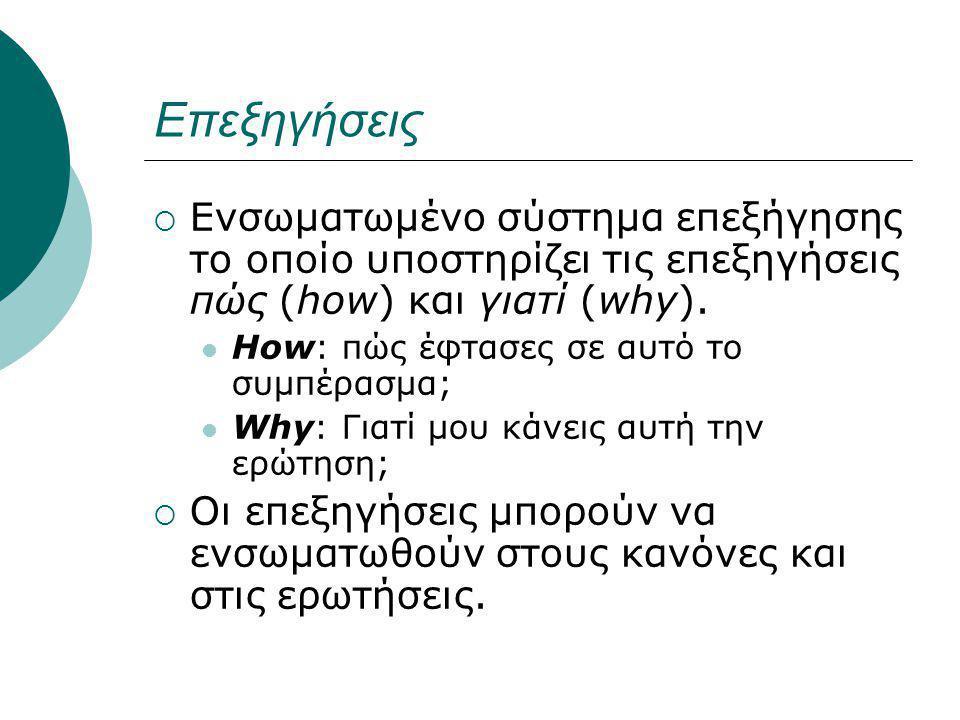Επεξηγήσεις  Ενσωματωμένο σύστημα επεξήγησης το οποίο υποστηρίζει τις επεξηγήσεις πώς (how) και γιατί (why).
