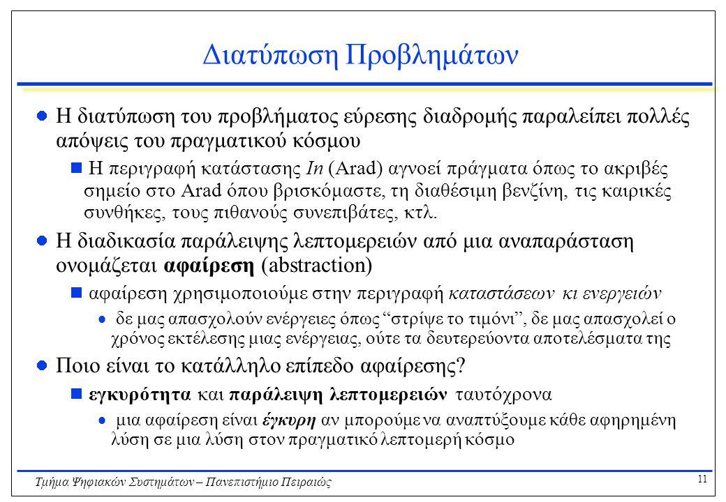 11 Τμήμα Ψηφιακών Συστημάτων – Πανεπιστήμιο Πειραιώς Διατύπωση Προβλημάτων Η διατύπωση του προβλήματος εύρεσης διαδρομής παραλείπει πολλές απόψεις του πραγματικού κόσμου  Η περιγραφή κατάστασης In (Arad) αγνοεί πράγματα όπως το ακριβές σημείο στο Arad όπου βρισκόμαστε, τη διαθέσιμη βενζίνη, τις καιρικές συνθήκες, τους πιθανούς συνεπιβάτες, κτλ.