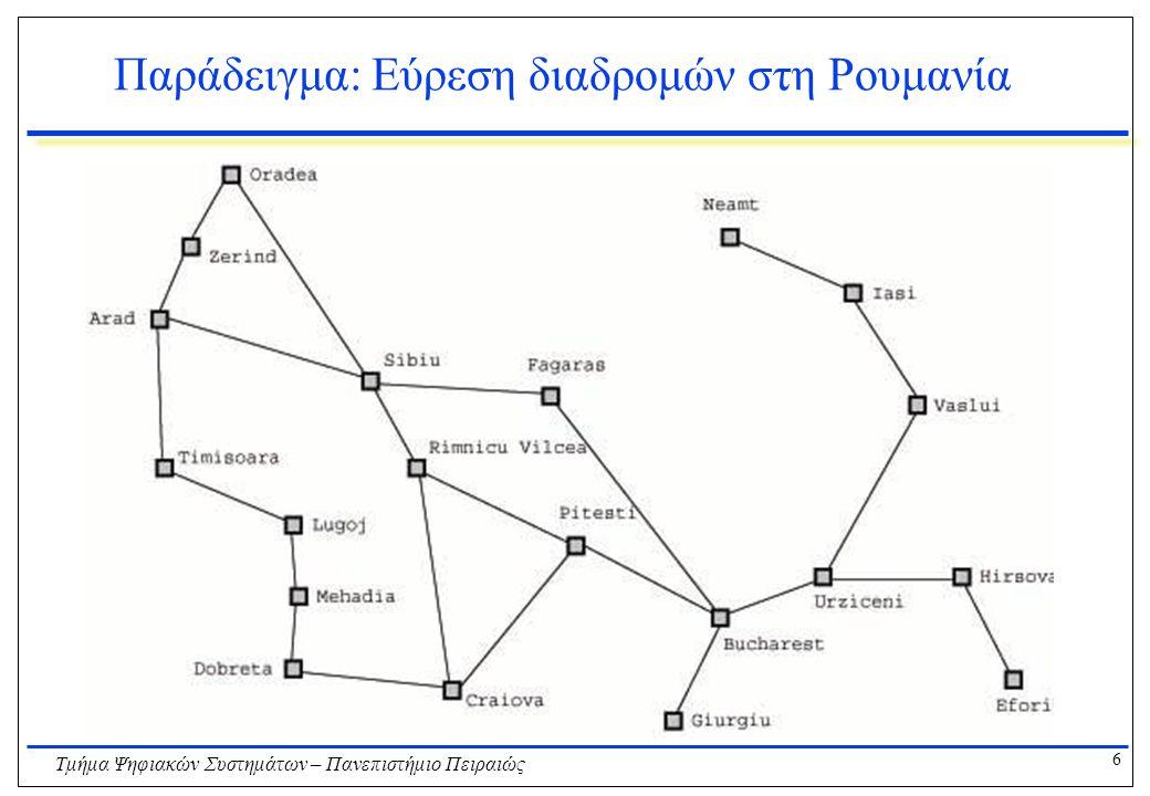 6 Τμήμα Ψηφιακών Συστημάτων – Πανεπιστήμιο Πειραιώς Παράδειγμα: Εύρεση διαδρομών στη Ρουμανία