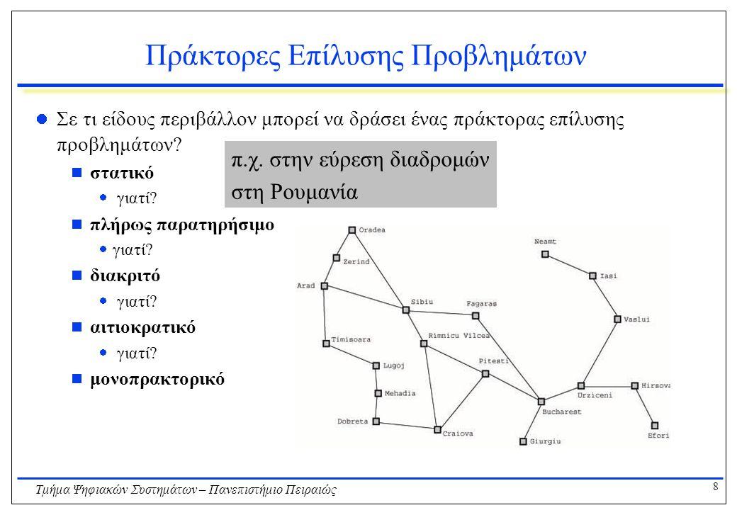 9 Τμήμα Ψηφιακών Συστημάτων – Πανεπιστήμιο Πειραιώς Προβλήματα Αναζήτησης Τα βασικά στοιχεία ενός προβλήματος αναζήτησης είναι:  Η αρχική κατάσταση  Το σύνολο των διατιθέμενων ενεργειών (actions).