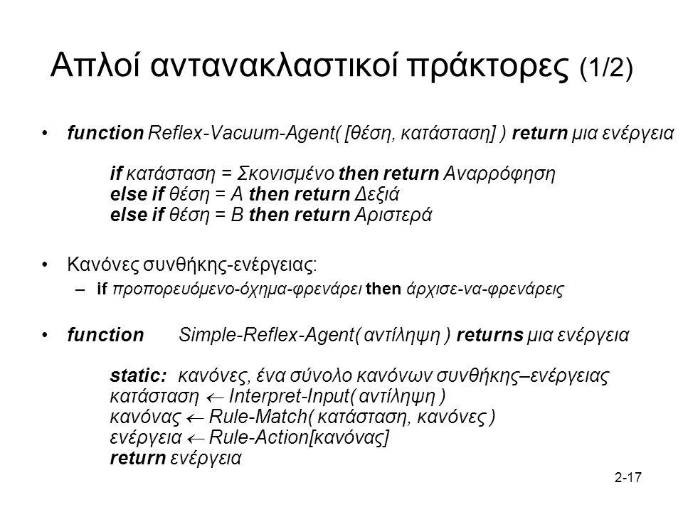 2-17 Απλοί αντανακλαστικοί πράκτορες (1/2) function Reflex-Vacuum-Agent( [θέση, κατάσταση] ) return μια ενέργεια if κατάσταση = Σκονισμένο then return