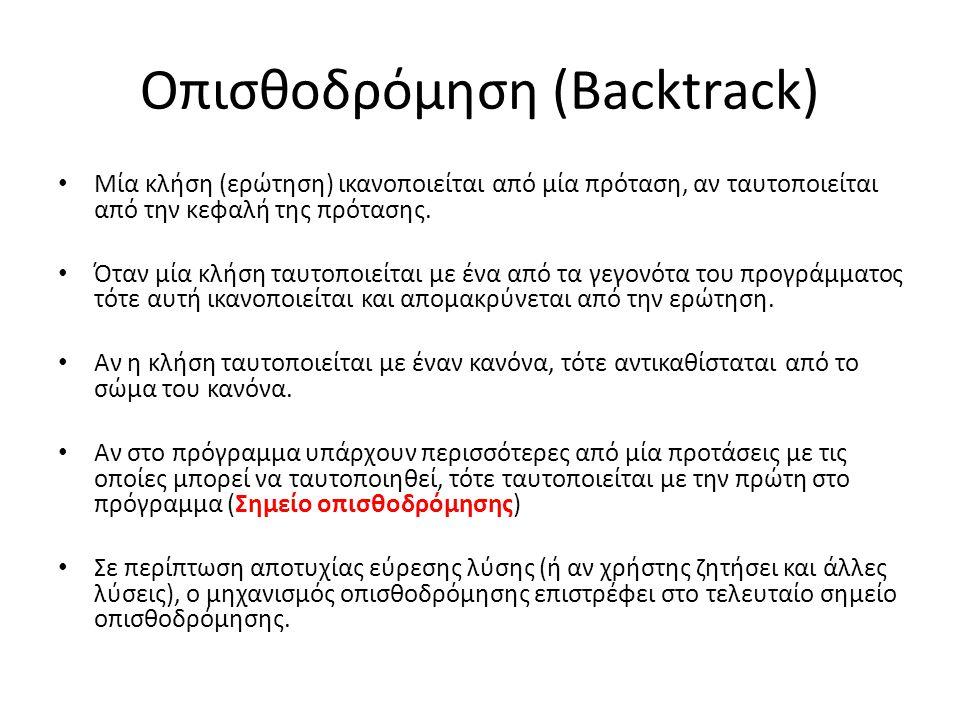 Οπισθοδρόμηση (Backtrack) Μία κλήση (ερώτηση) ικανοποιείται από μία πρόταση, αν ταυτοποιείται από την κεφαλή της πρότασης.
