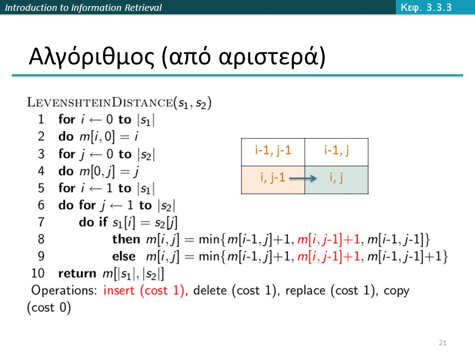 Introduction to Information Retrieval Αλγόριθμος (από αριστερά) Κεφ.