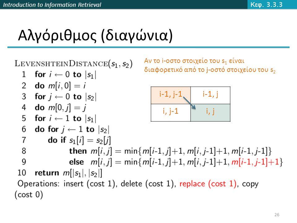 Introduction to Information Retrieval Αλγόριθμος (διαγώνια) Κεφ.