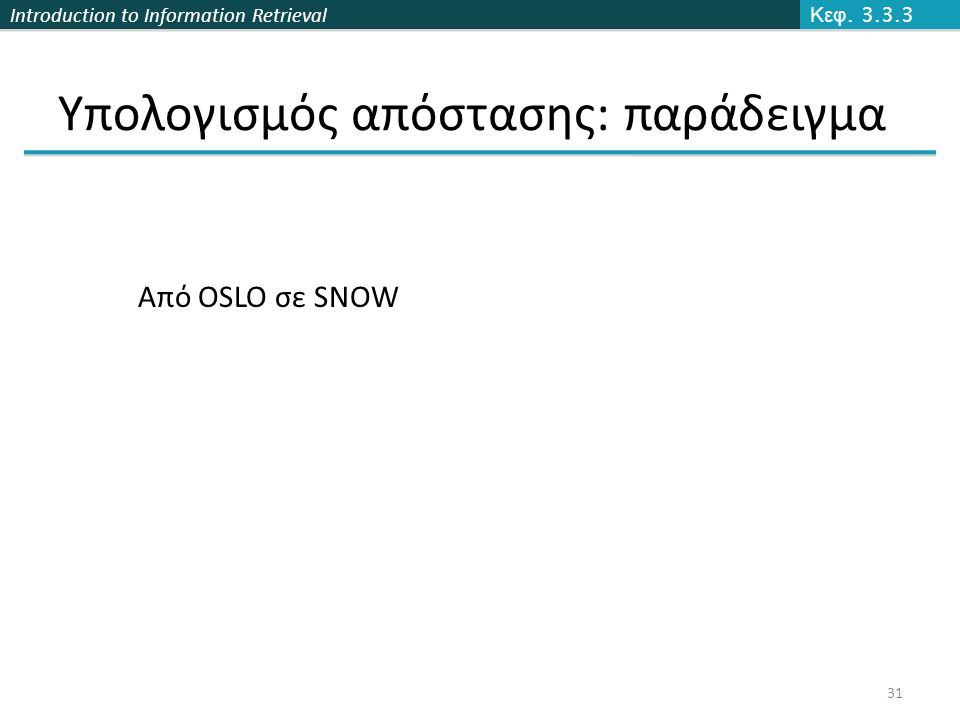 Introduction to Information Retrieval Υπολογισμός απόστασης: παράδειγμα Κεφ. 3.3.3 31 Από OSLO σε SNOW