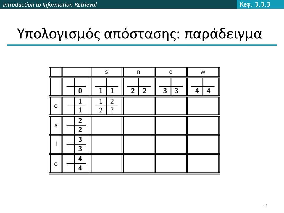 Introduction to Information Retrieval Υπολογισμός απόστασης: παράδειγμα Κεφ. 3.3.3 33