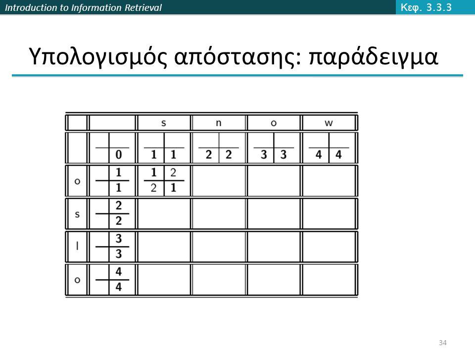 Introduction to Information Retrieval Υπολογισμός απόστασης: παράδειγμα Κεφ. 3.3.3 34