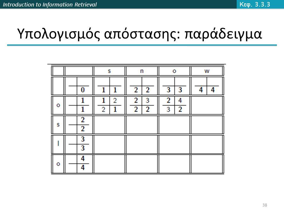 Introduction to Information Retrieval Υπολογισμός απόστασης: παράδειγμα Κεφ. 3.3.3 38