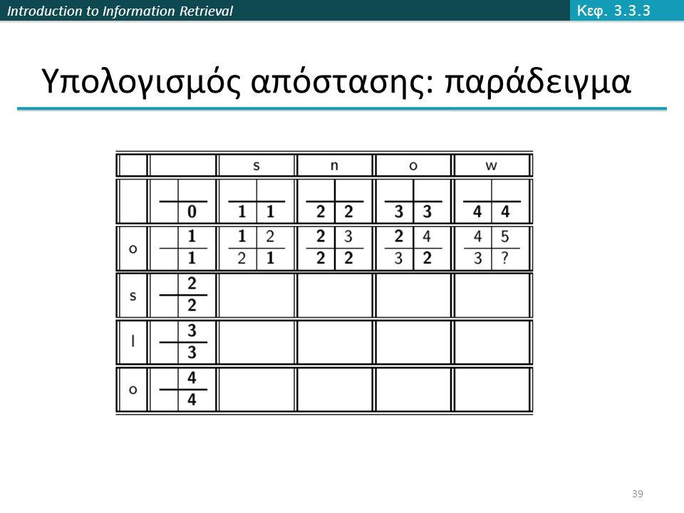 Introduction to Information Retrieval Υπολογισμός απόστασης: παράδειγμα Κεφ. 3.3.3 39