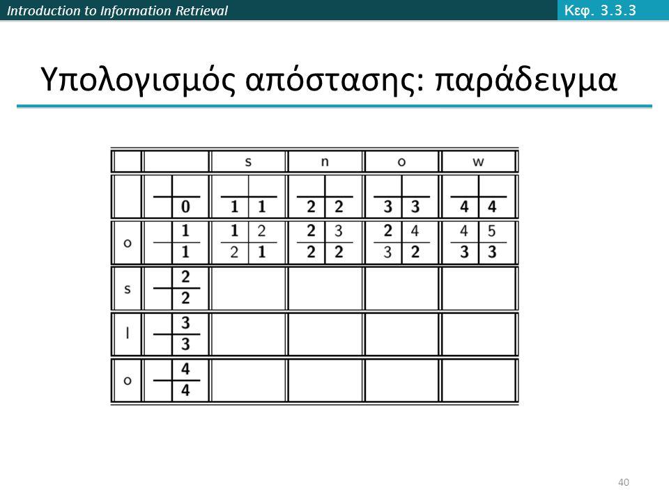 Introduction to Information Retrieval Υπολογισμός απόστασης: παράδειγμα Κεφ. 3.3.3 40