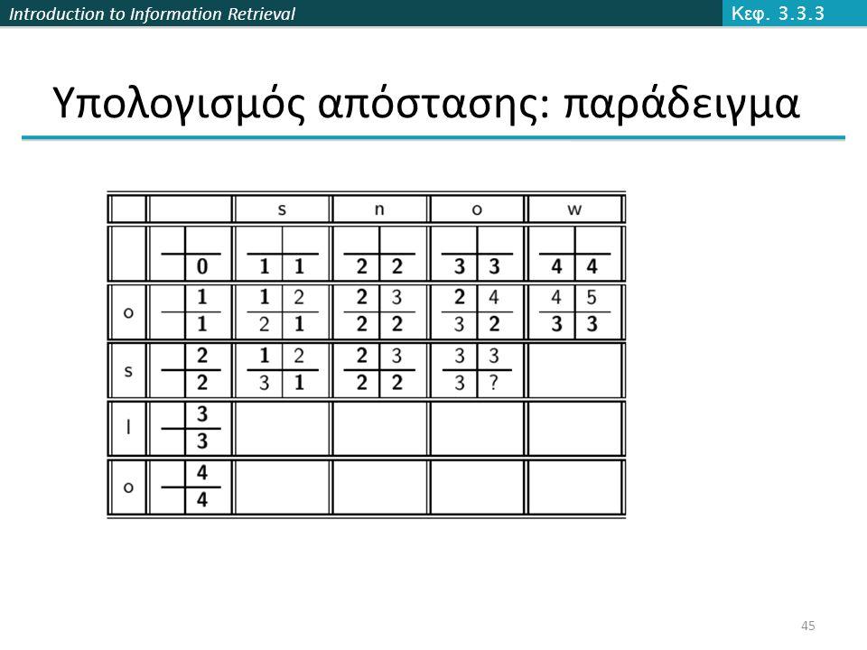 Introduction to Information Retrieval Υπολογισμός απόστασης: παράδειγμα Κεφ. 3.3.3 45