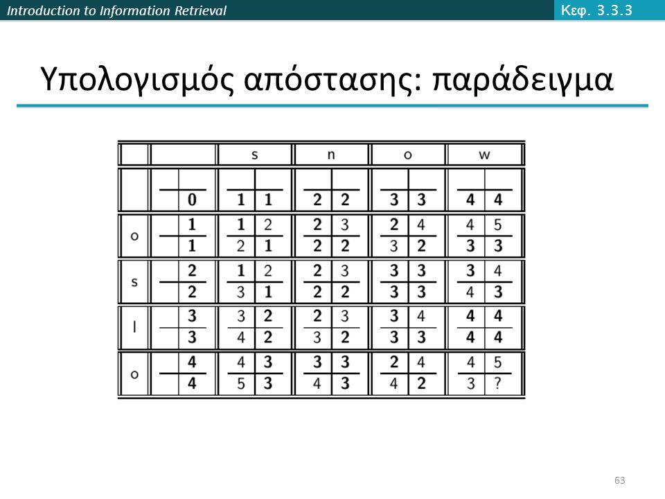 Introduction to Information Retrieval Υπολογισμός απόστασης: παράδειγμα Κεφ. 3.3.3 63