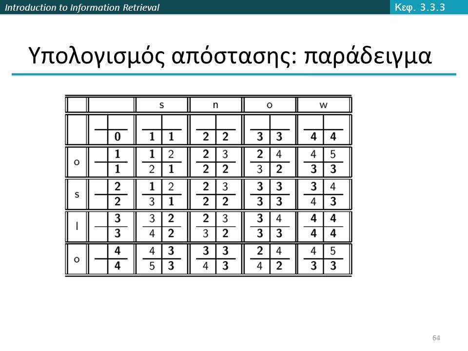 Introduction to Information Retrieval Υπολογισμός απόστασης: παράδειγμα Κεφ. 3.3.3 64