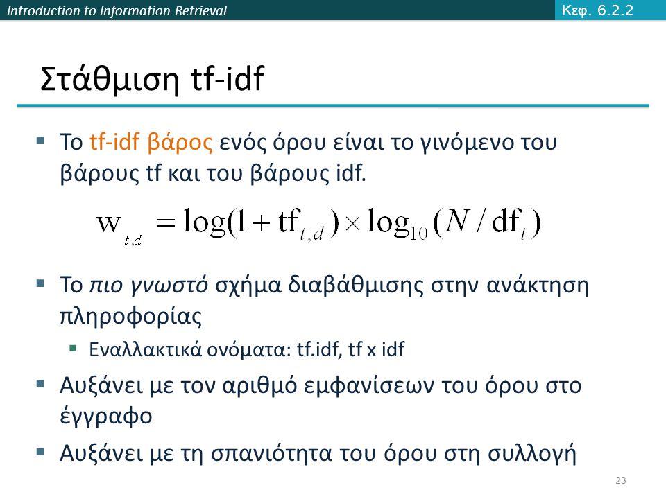 Introduction to Information Retrieval Στάθμιση tf-idf  Το tf-idf βάρος ενός όρου είναι το γινόμενο του βάρους tf και του βάρους idf.