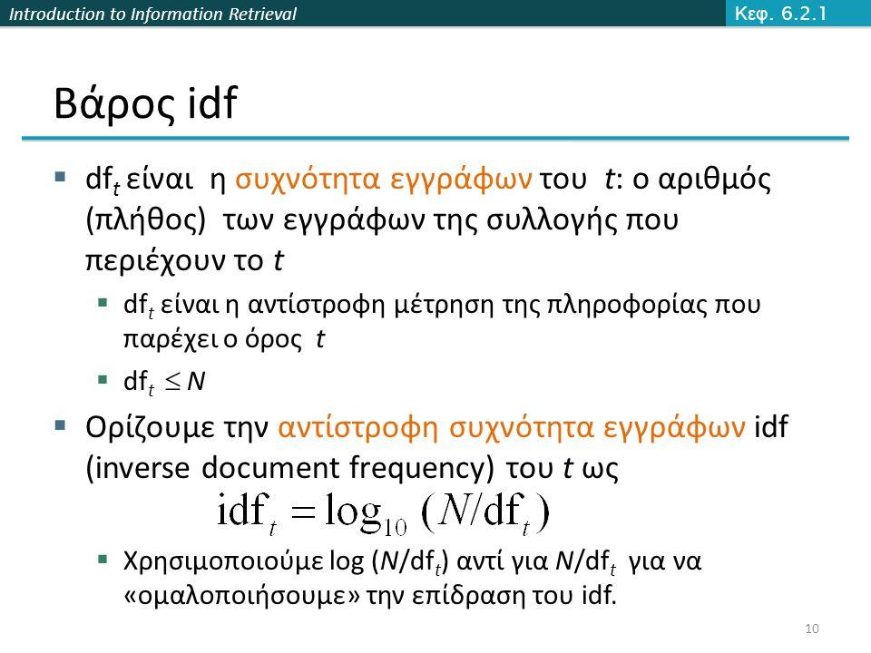 Introduction to Information Retrieval Βάρος idf  df t είναι η συχνότητα εγγράφων του t: ο αριθμός (πλήθος) των εγγράφων της συλλογής που περιέχουν το t  df t είναι η αντίστροφη μέτρηση της πληροφορίας που παρέχει ο όρος t  df t  N  Ορίζουμε την αντίστροφη συχνότητα εγγράφων idf (inverse document frequency) του t ως  Χρησιμοποιούμε log (N/df t ) αντί για N/df t για να «ομαλοποιήσουμε» την επίδραση του idf.