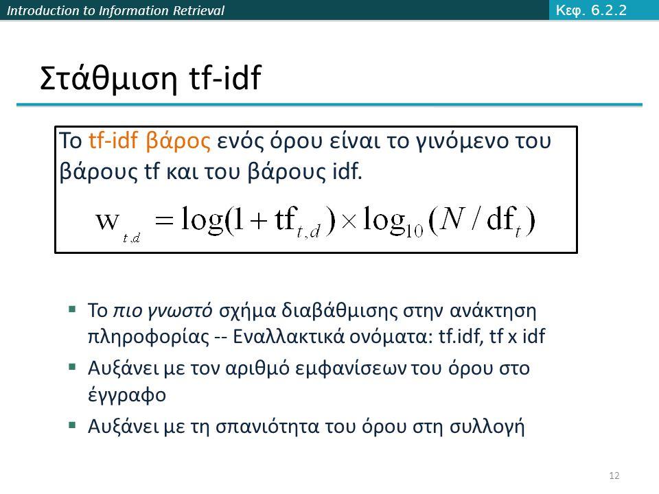 Introduction to Information Retrieval Στάθμιση tf-idf Το tf-idf βάρος ενός όρου είναι το γινόμενο του βάρους tf και του βάρους idf.  Το πιο γνωστό σχ