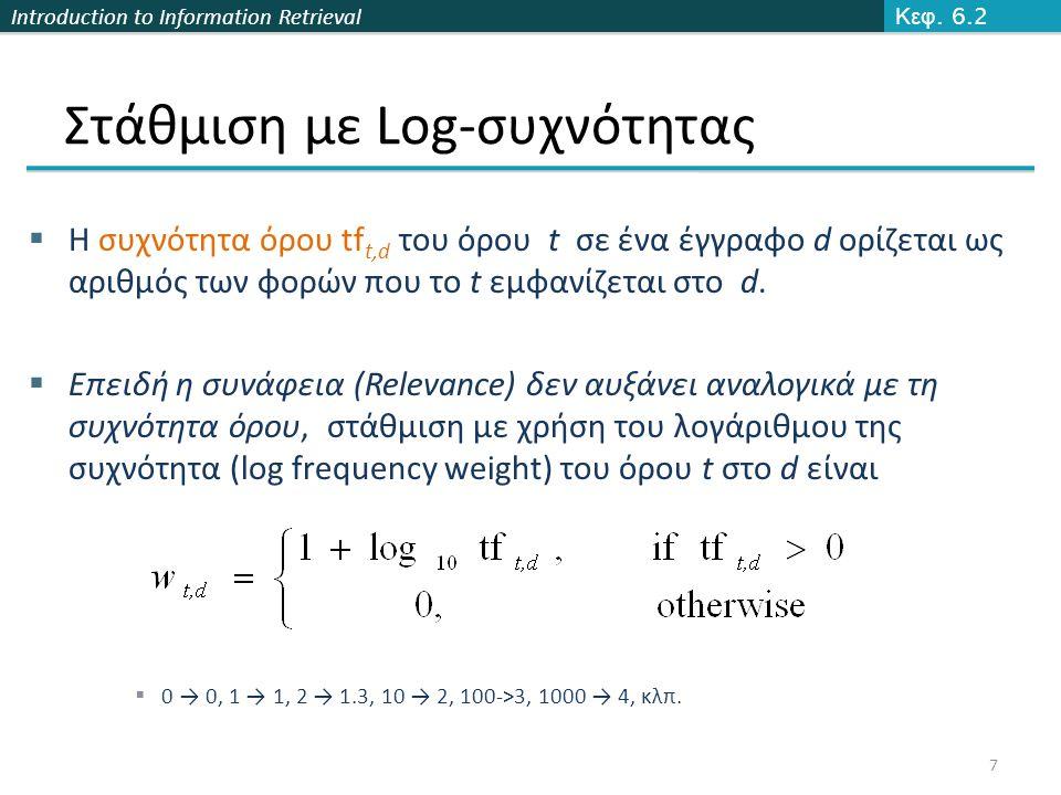 Introduction to Information Retrieval Στάθμιση με Log-συχνότητας  Ο βαθμός για ένα ζεύγος εγγράφου-ερωτήματος: άθροισμα όλων των κοινών όρων:  Ο βαθμός είναι 0 όταν κανένας από τους όρους του ερωτήματος δεν εμφανίζεται στο έγγραφο Κεφ.